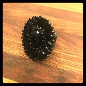 Black Flower Beaded Ring